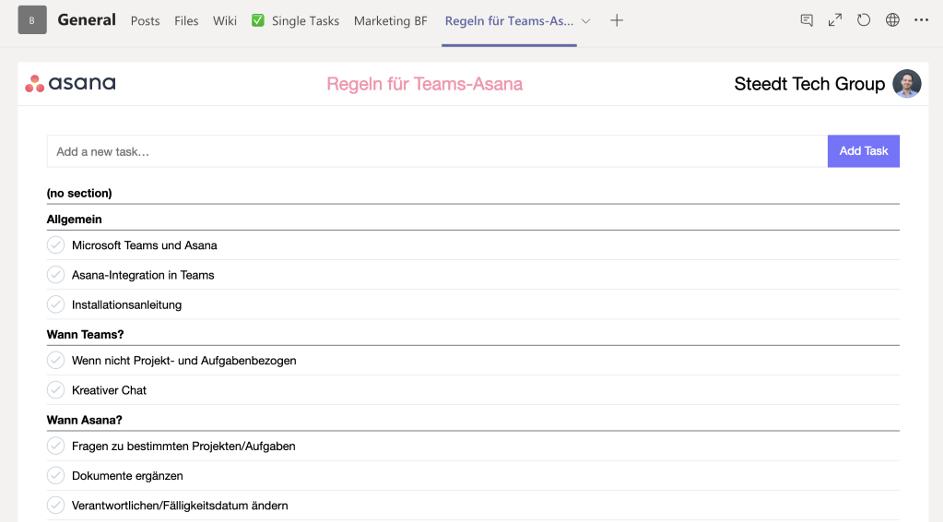 Asana Project in Channel in Teams